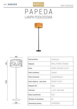 LAMPA PODŁOGOWA KOLOR BEŻOWY/ZŁOTY