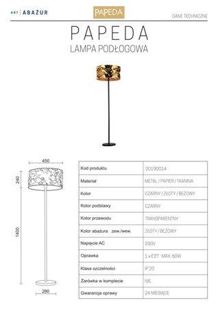 LAMPA PODŁOGOWA KOLOR ZŁOTY