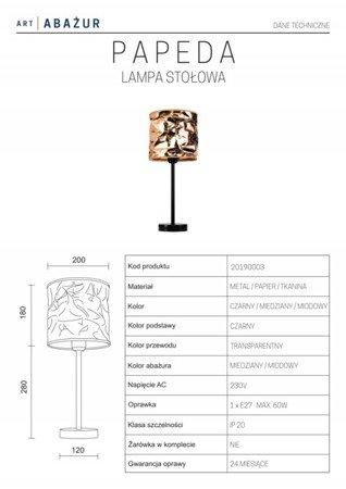 LAMPA STOŁOWA KOLOR RÓŻOWE ZŁOTO