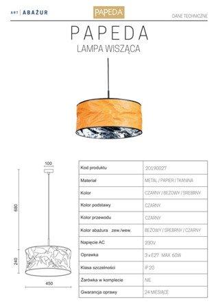 LAMPA WISZĄCA KOLOR BEŻOWY/SREBRNY