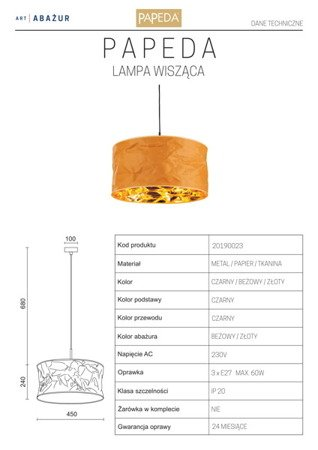 LAMPA WISZĄCA KOLOR BEŻOWY/ZŁOTY