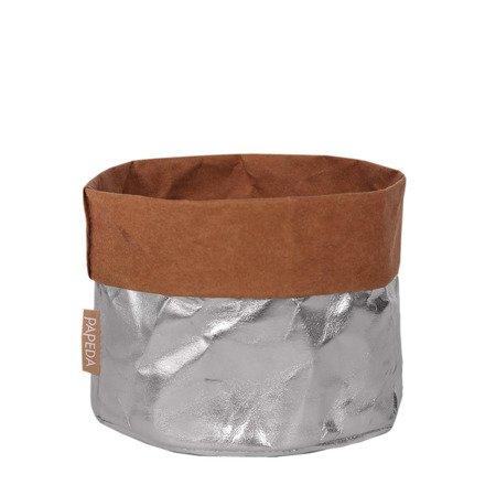 Osłonka na doniczkę kolor srebrny M (OP 1510)średnica 14x12/16* cm h